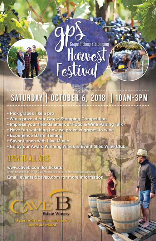 Join us Saturday, October 6th 2018 from 10am-3pm for our GPS (Grape Picking